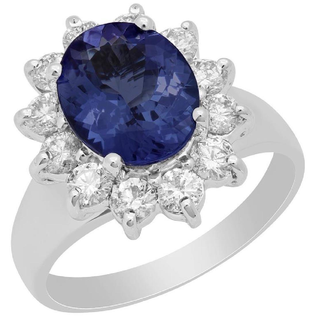 14k White Gold 2.42ct Tanzanite 0.93ct Diamond Ring