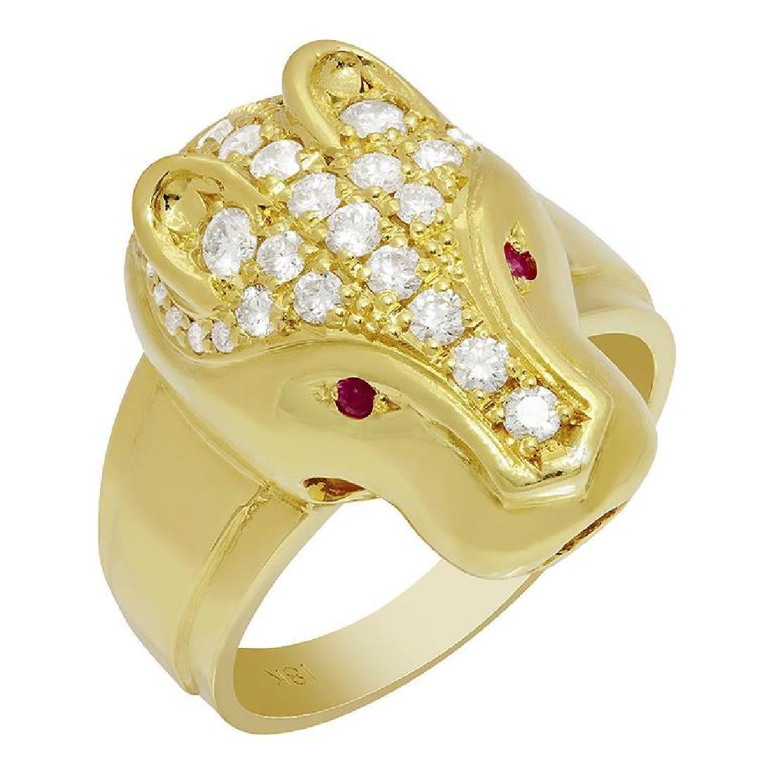 14k Yellow Gold 0.05ct Ruby 1.07ct Diamond Ring