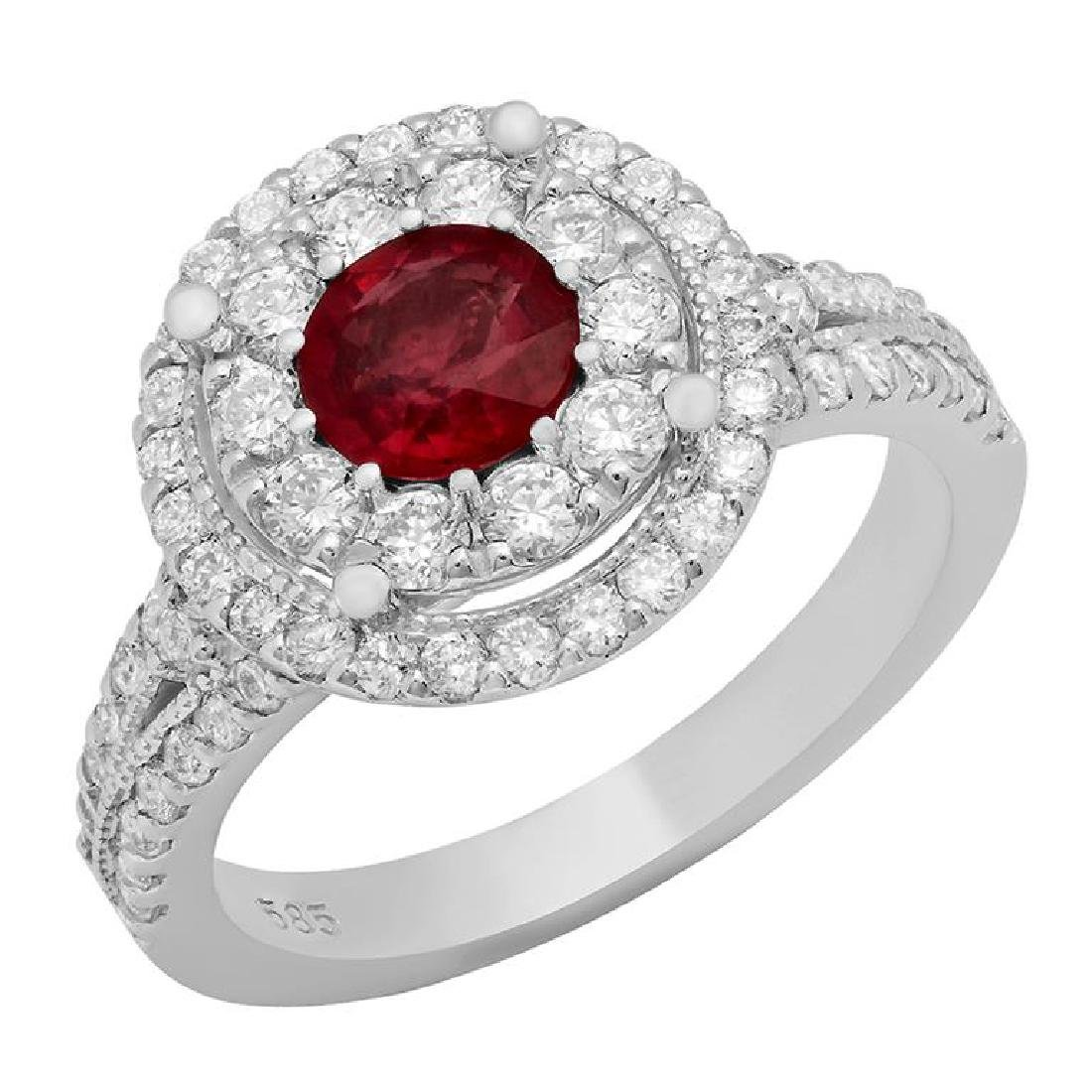 14k White Gold 0.92ct Ruby 1.12ct Diamond Ring