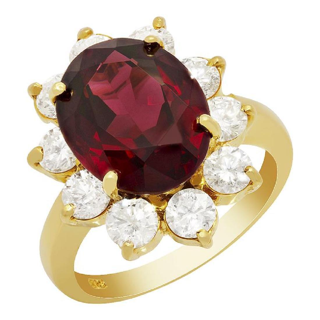 14k Yellow Gold 7.81ct Almandite Garnet 2.10ct Diamond
