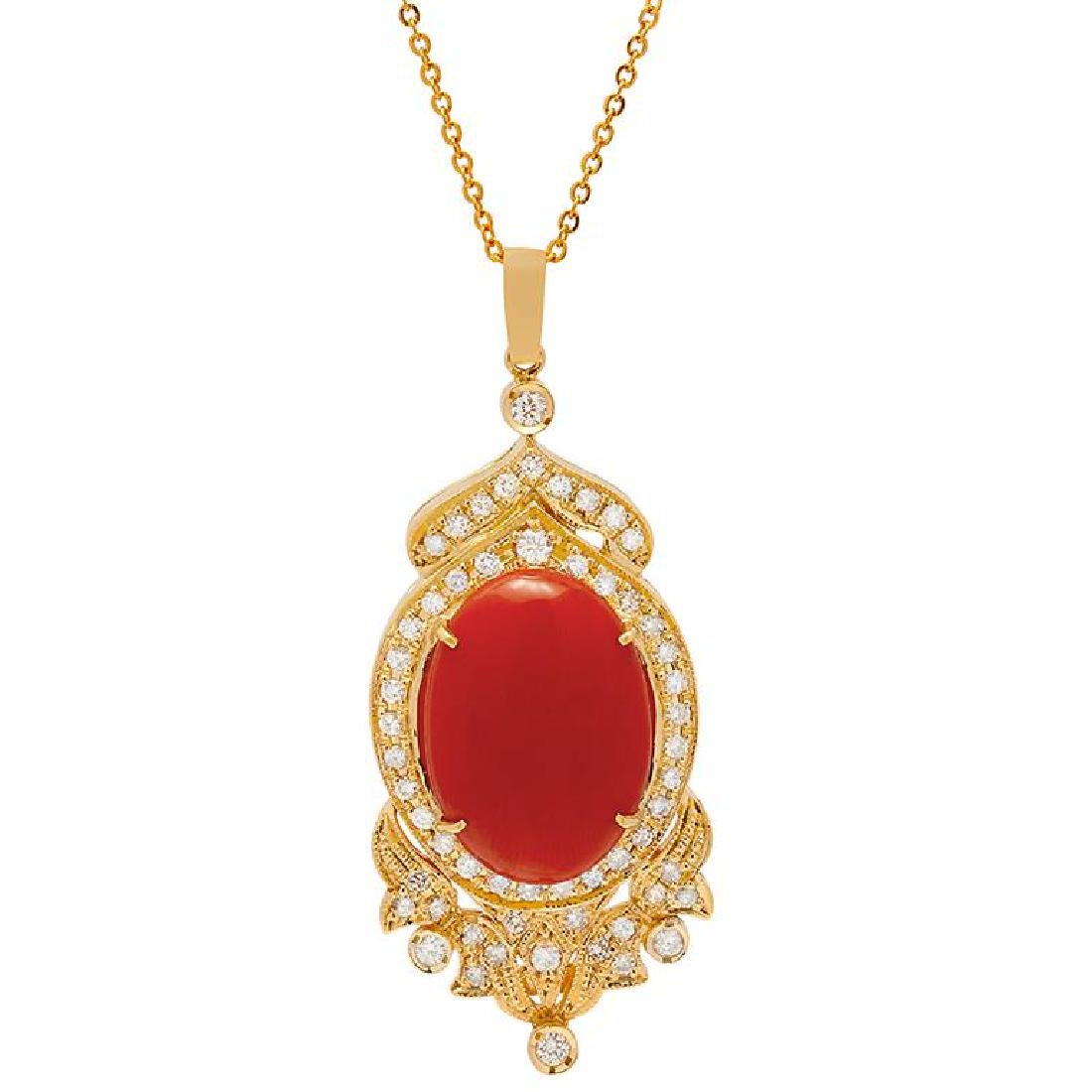 14k Yellow Gold 18.50ct Coral 1.79ct Diamond Pendant