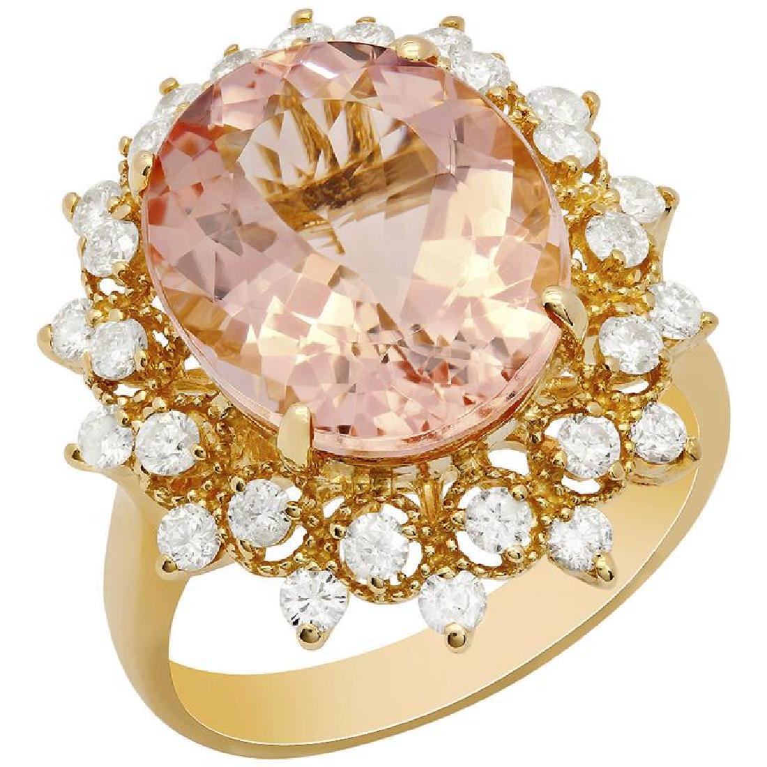 14k Yellow Gold 6.33ct Morganite 0.80ct Diamond Ring