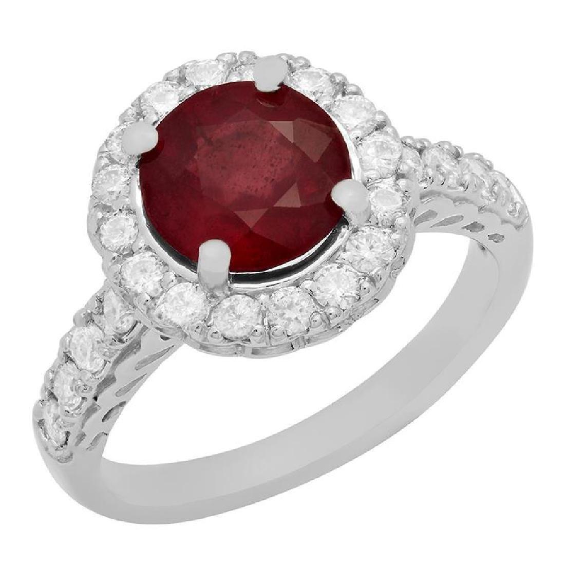 14k White Gold 2.15ct Ruby 0.78ct Diamond Ring