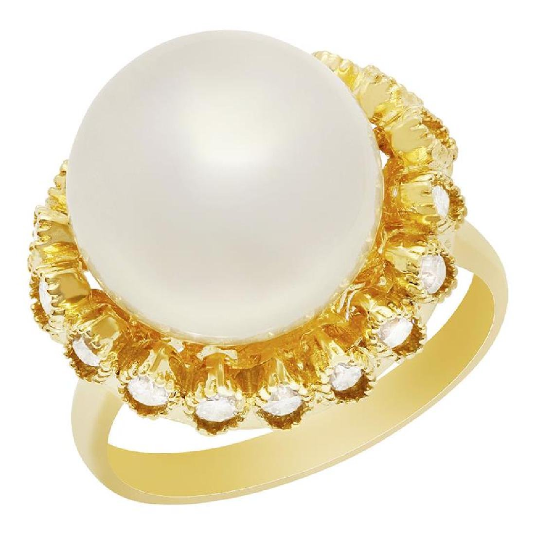 14k Yellow Gold 13mm Pearl 0.65ct Diamond Ring