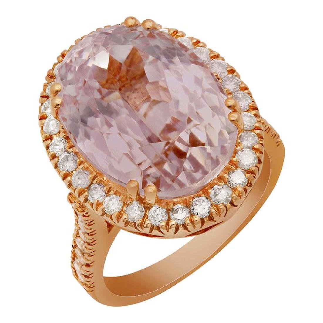 14k Rose Gold 16.01ct Kunzite 1.02ct Diamond Ring