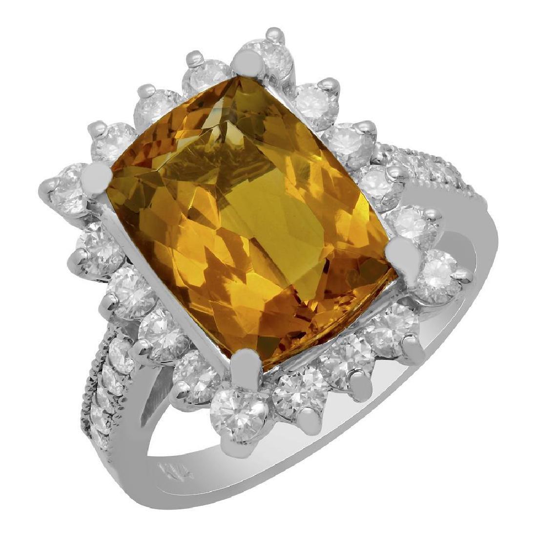 14k White Gold 3.89ct Yellow Beryl 1.17ct Diamond Ring