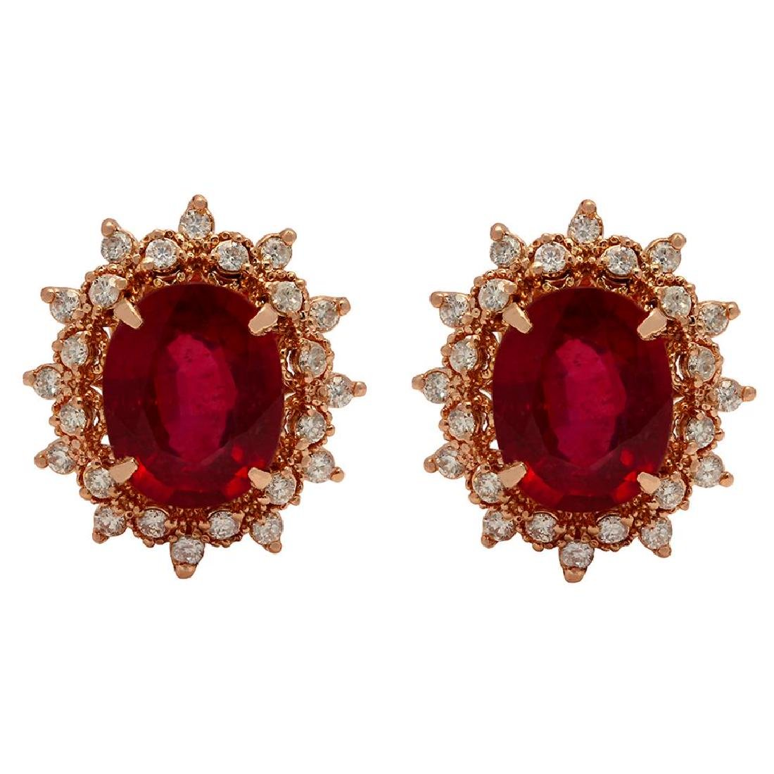 14k Rose Gold 7.86ct Ruby 1.36ct Diamond Earrings
