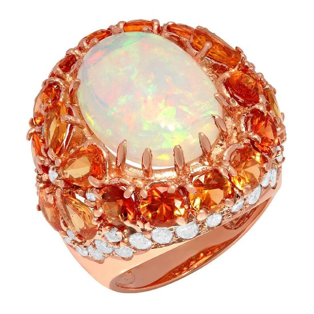 14k Rose Gold 7.02ct White Opal 9.56ct Orange Sapphire