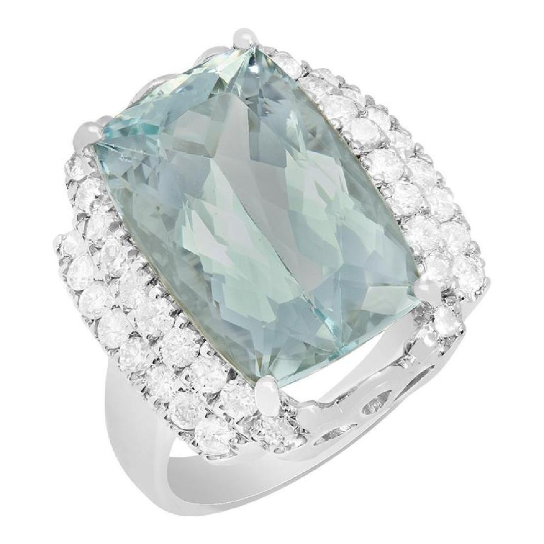 14k White Gold 9.66ct Aquamarine 1.01ct Diamond Ring