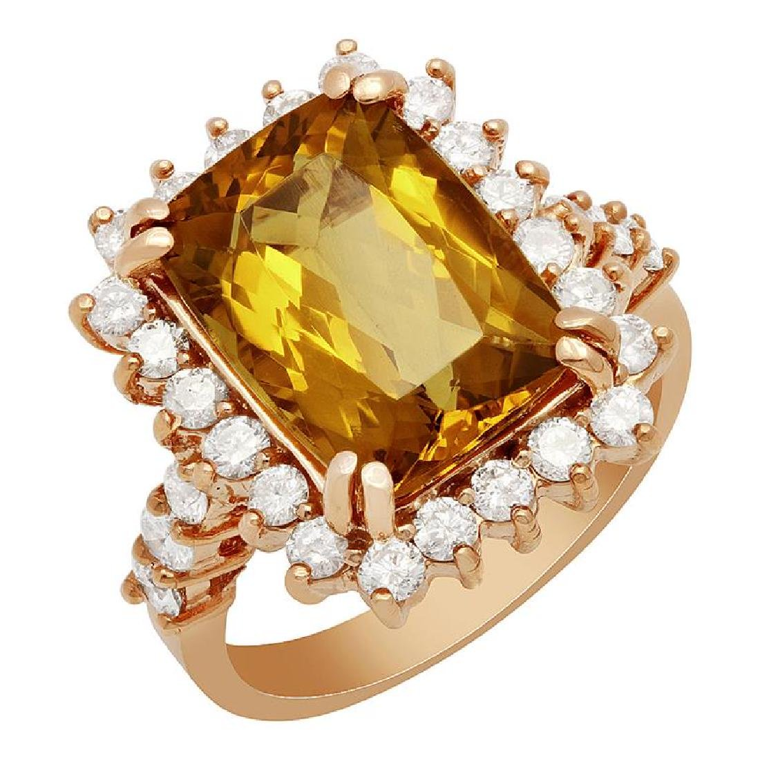14k Rose Gold 4.82ct Yellow Beryl 0.80ct Diamond Ring