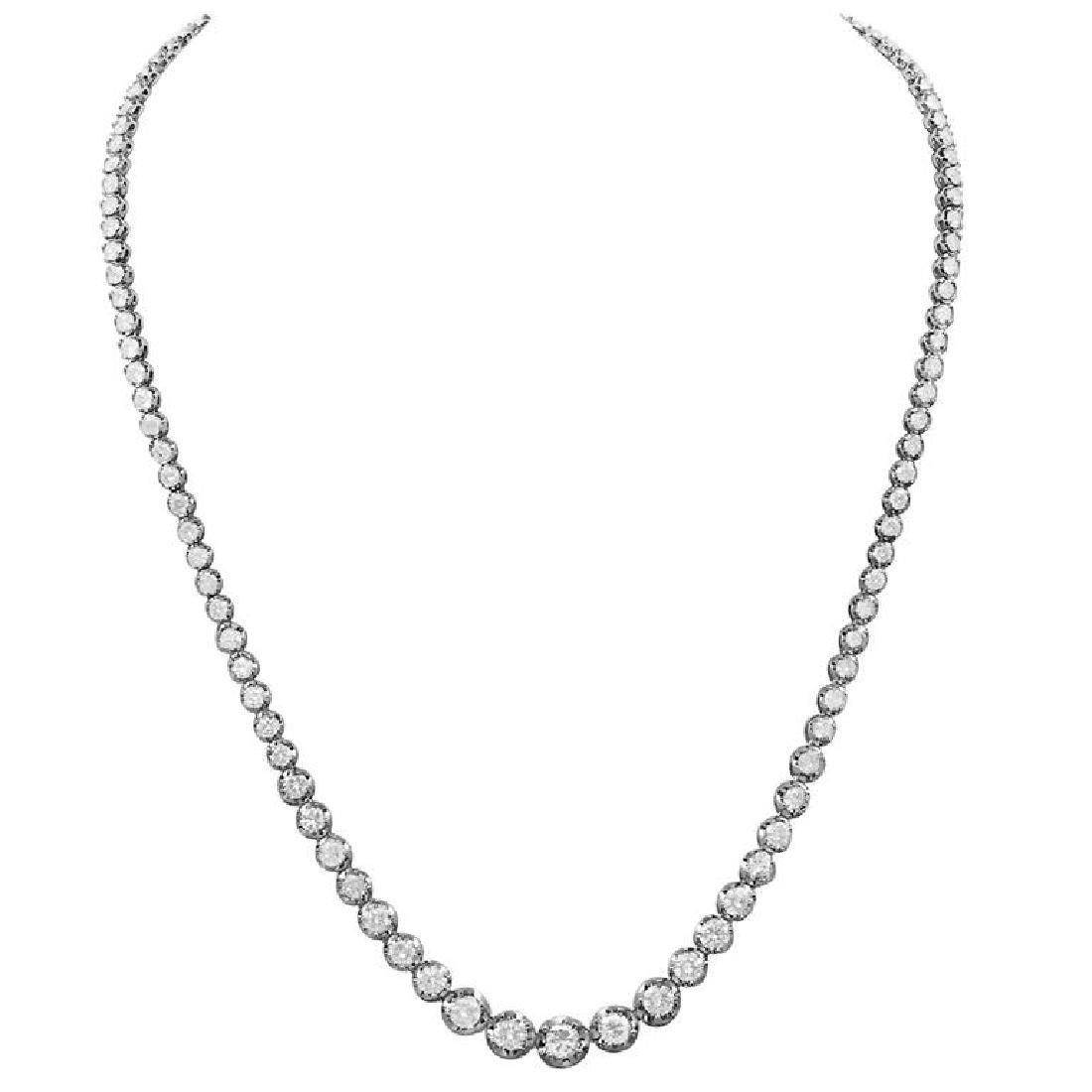 14k White Gold 11.24ct Diamond Necklace