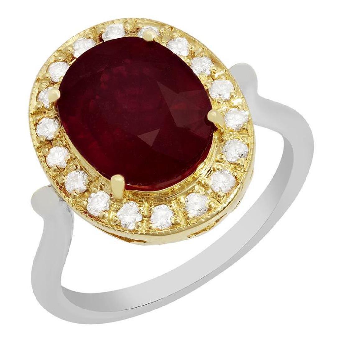 14k Yellow & White Gold 5.50ct Ruby 0.42ct Diamond Ring