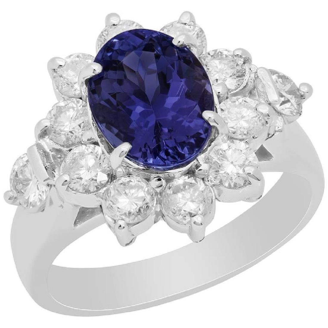 14k White Gold 2.47ct Tanzanite 1.30ct Diamond Ring