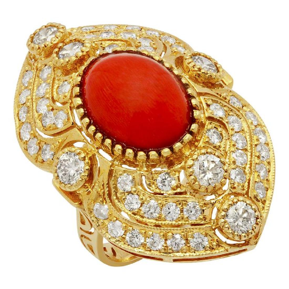 14k Yellow Gold 5.10ct Coral 1.59ct Diamond Ring