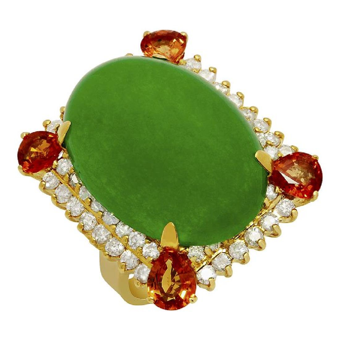 14k Yellow Gold 26.42ct Jade 2.00ct Sapphire 1.85ct