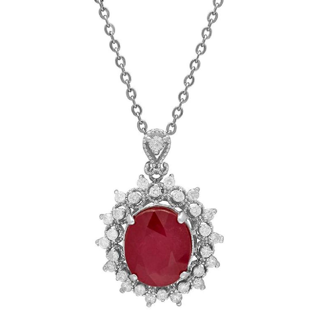 14k White Gold 7.45ct Ruby 0.65ct Diamond Pendant