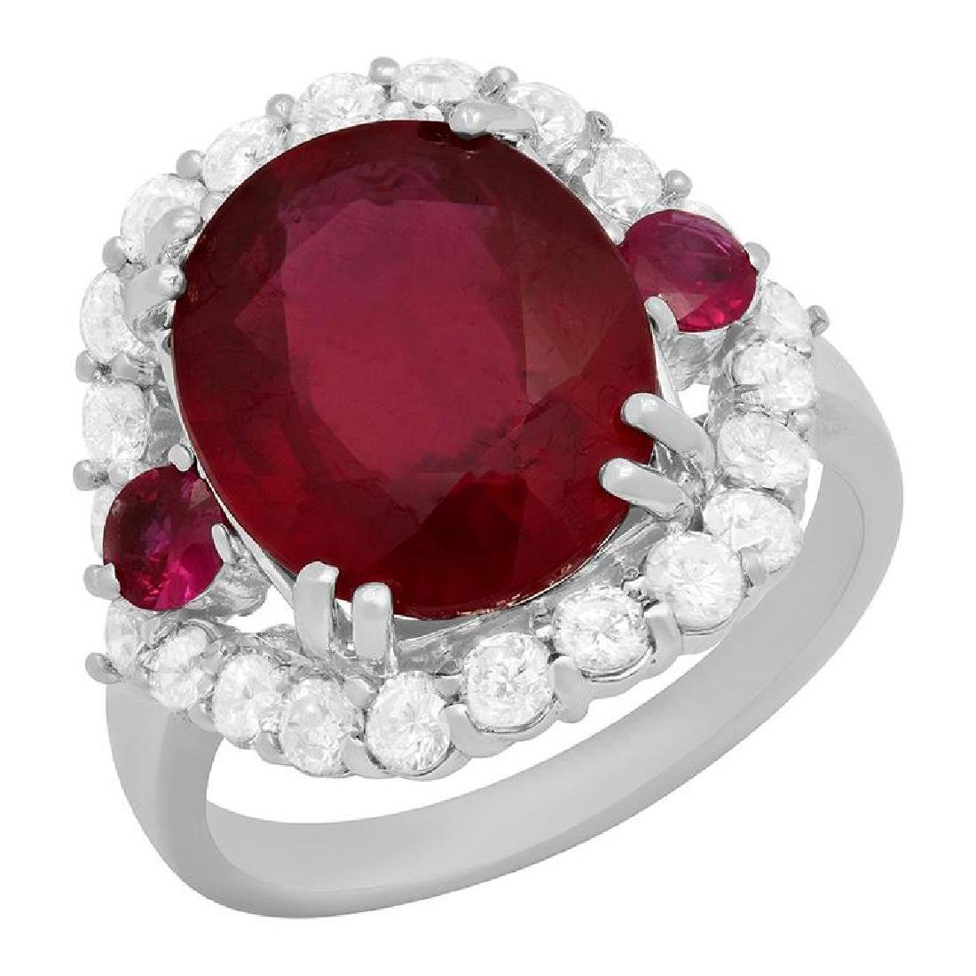 14k White Gold 7.00ct & 0.40ct Ruby 1.22ct Diamond Ring