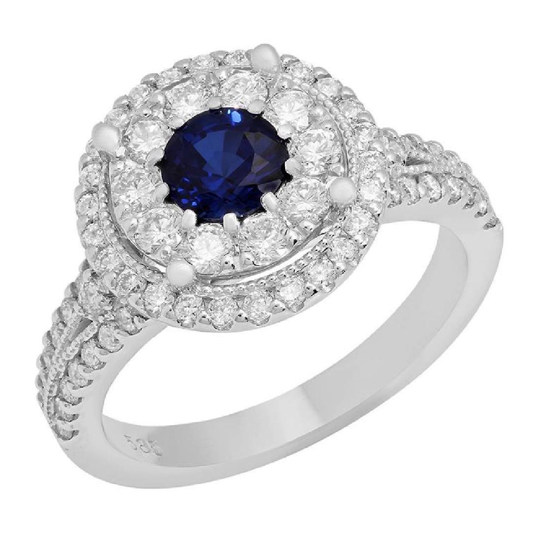 14k White Gold 0.85ct Sapphire 1.12ct Diamond Ring