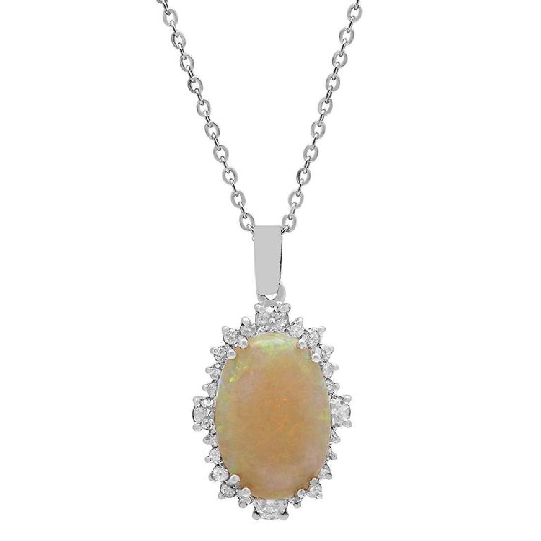 14k White Gold 5.77ct Opal 1.09ct Diamond Pendant