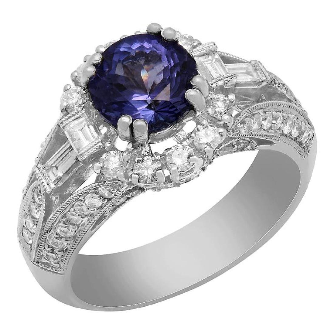 14k White Gold 1.80ct Tanzanite 0.95ct Diamond Ring