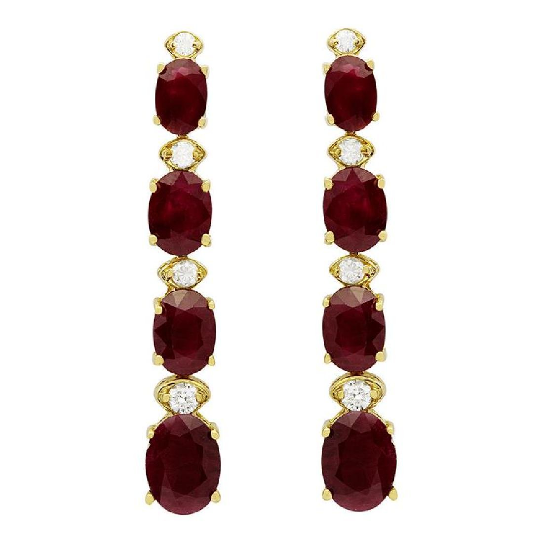 14k Yellow Gold 7.33ct Ruby 0.34ct Diamond Earrings