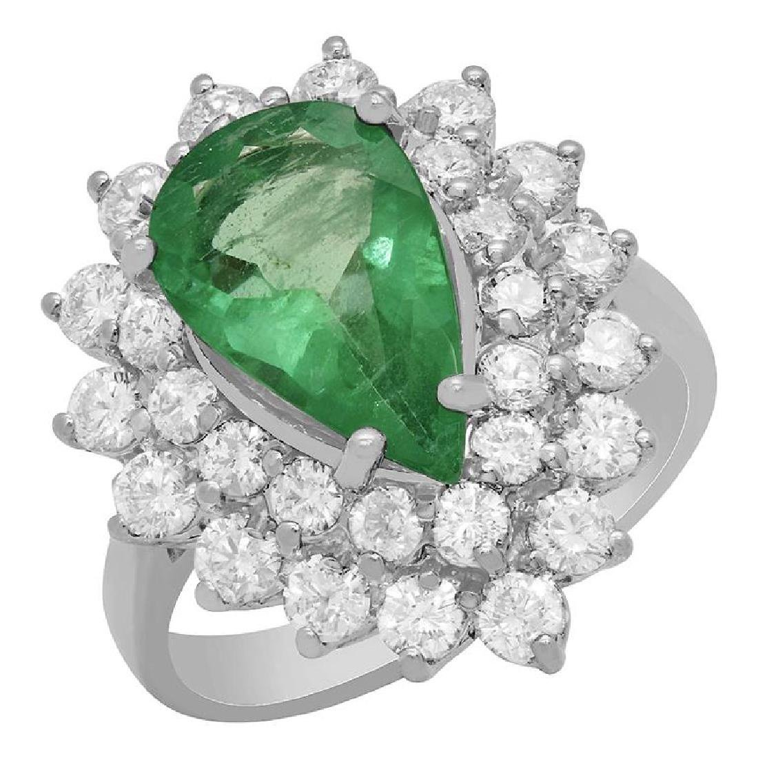14k White Gold 2.10ct Emerald 1.69ct Diamond Ring