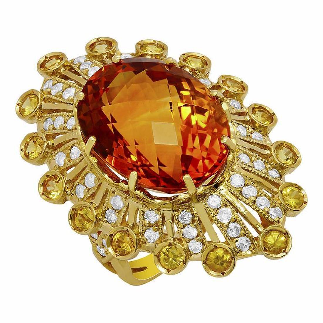 14k Yellow Gold 18.10ct & 0.80ct Citrine 1.13ct Diamond