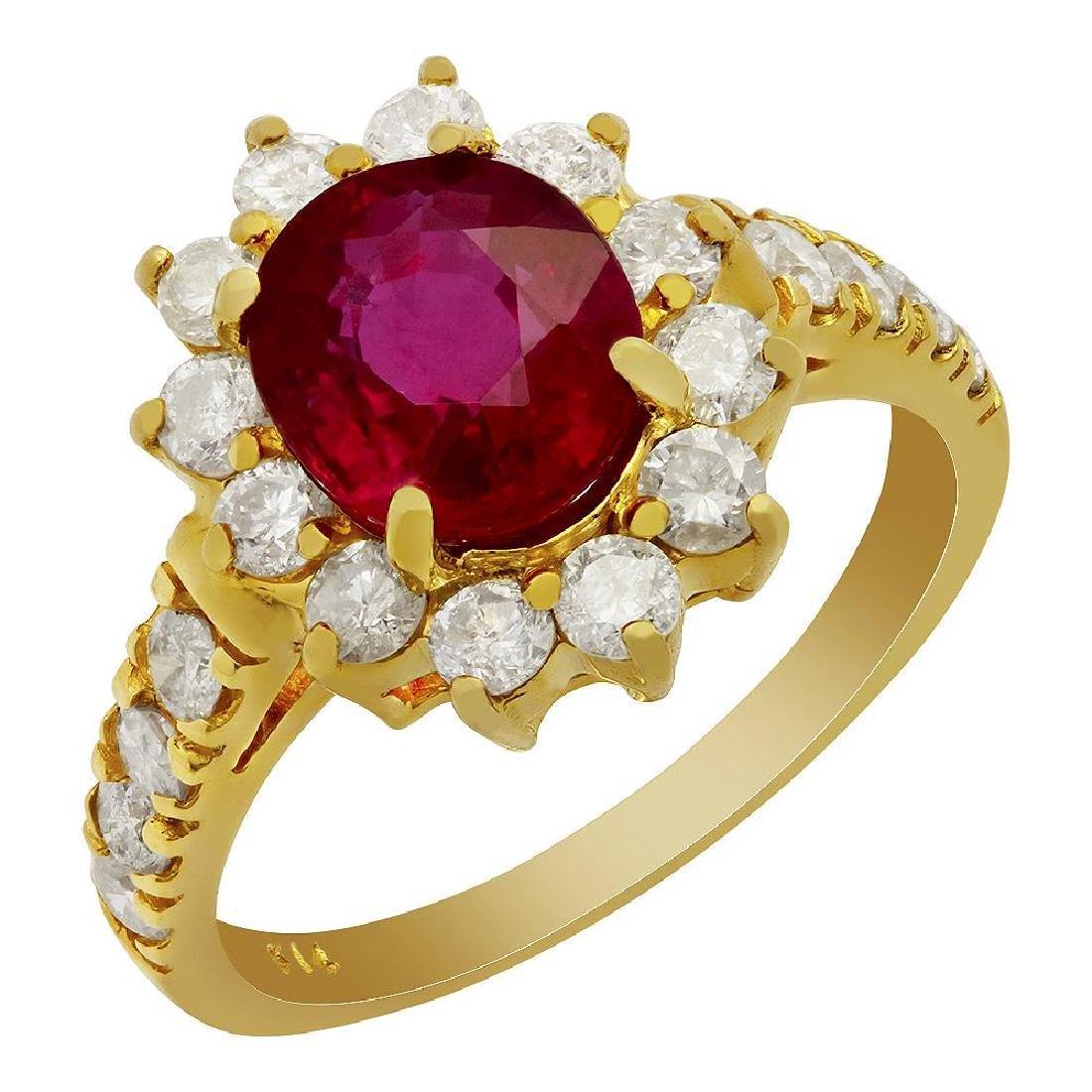 14k Yellow Gold 2.41ct Ruby 1.13ct Diamond Ring