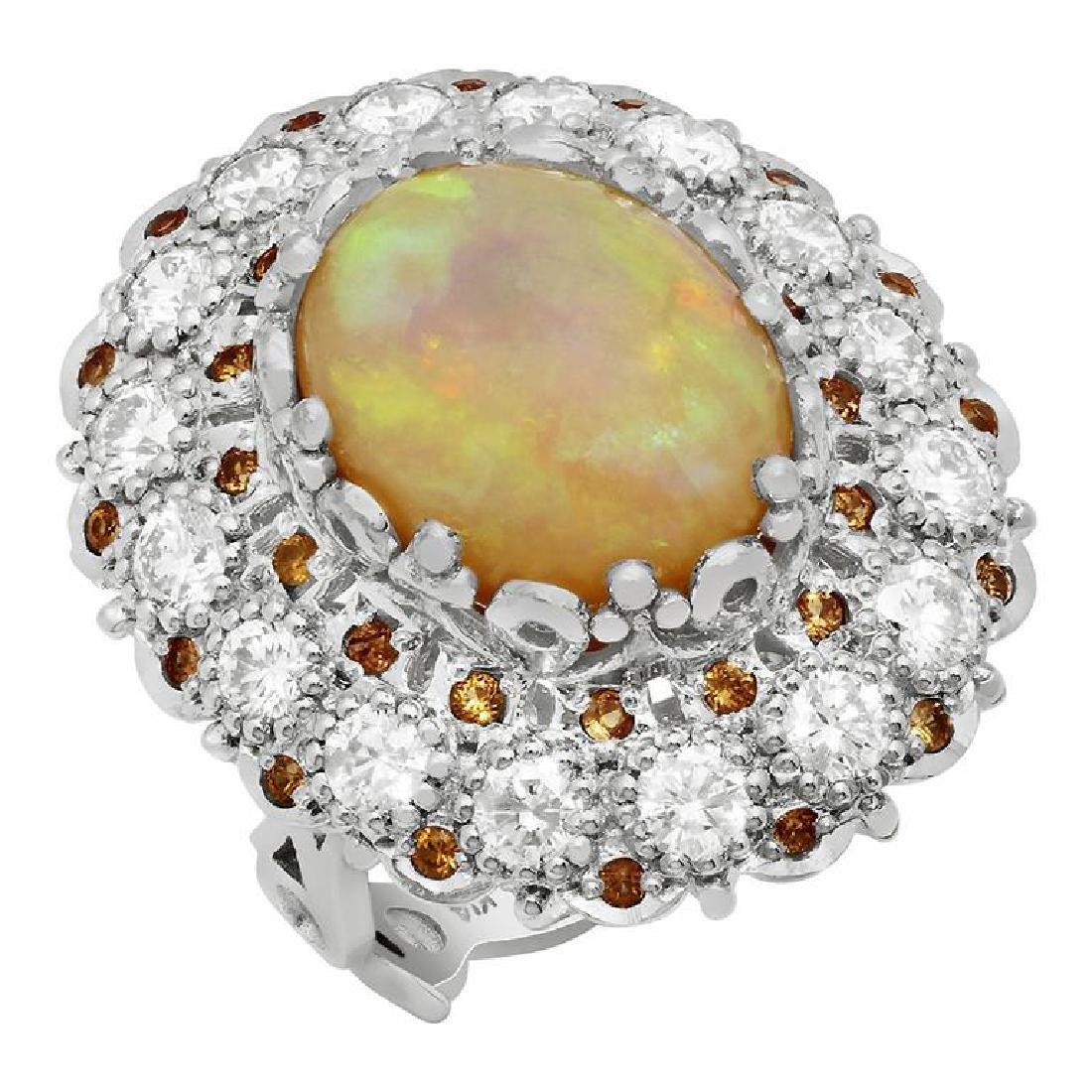 14k White Gold 7.09ct White Opal 0.48ct Orange Sapphire