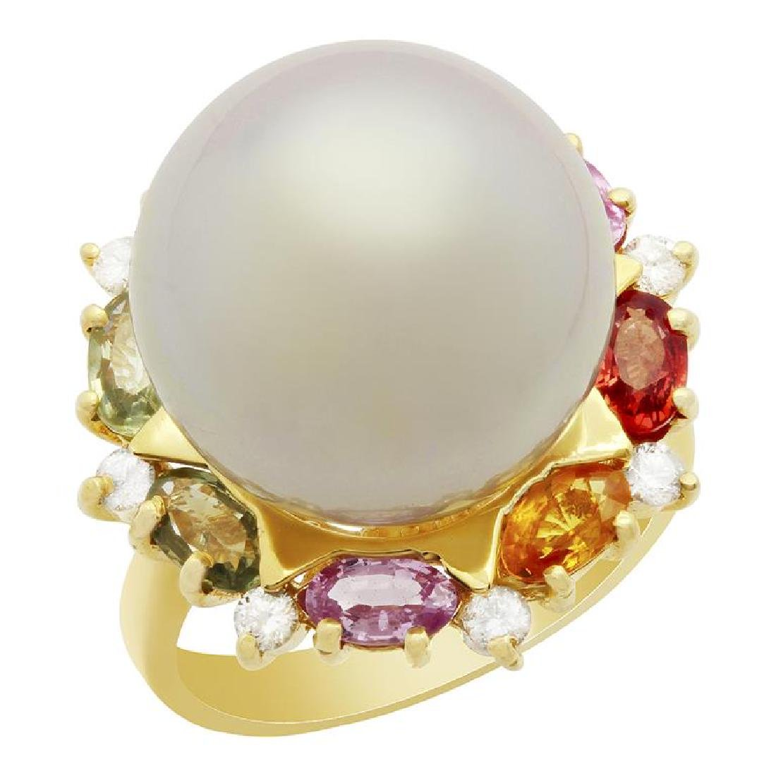14k Yellow Gold 15.5mm Pearl 2.36ct Sapphire 0.32ct