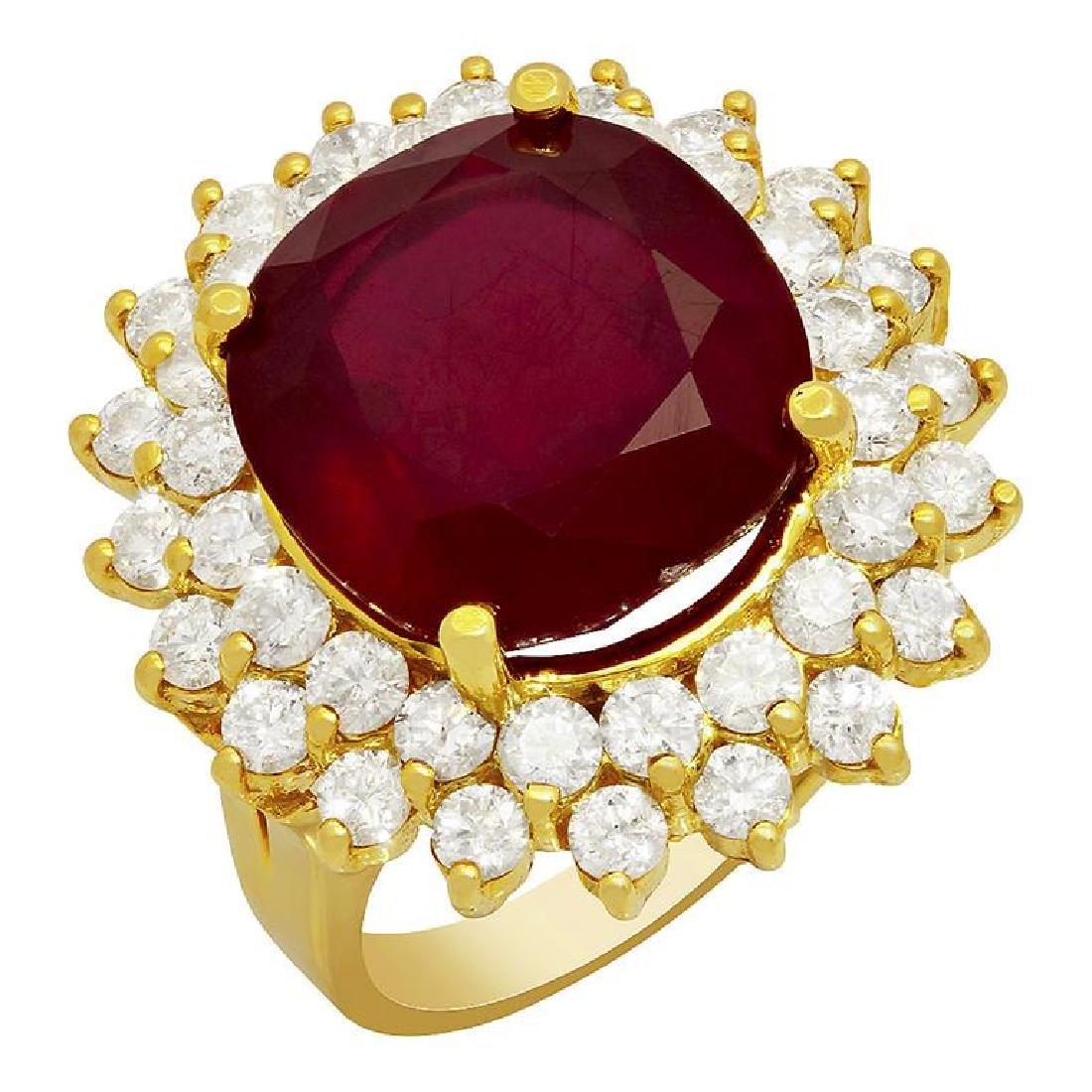 14k Yellow Gold 14.83ct Ruby 2.41ct Diamond Ring