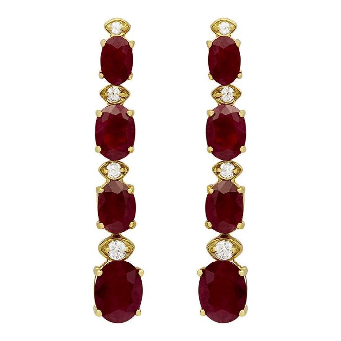 14k Yellow Gold 8.64ct Ruby 0.26ct Diamond Earrings