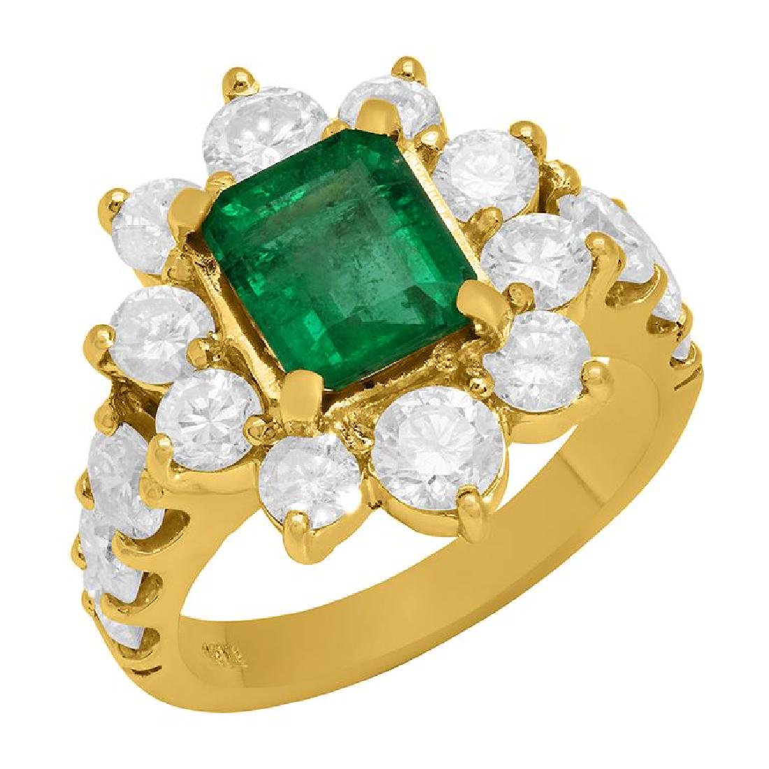 14k Yellow Gold 1.70ct Emerald 2.73ct Diamond Ring
