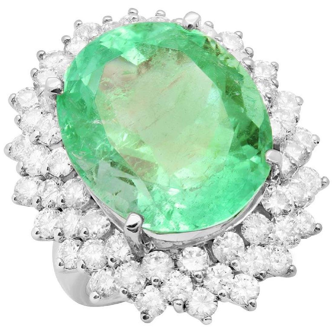 14k White Gold 24.41ct Emerald 4.49ct Diamond Ring