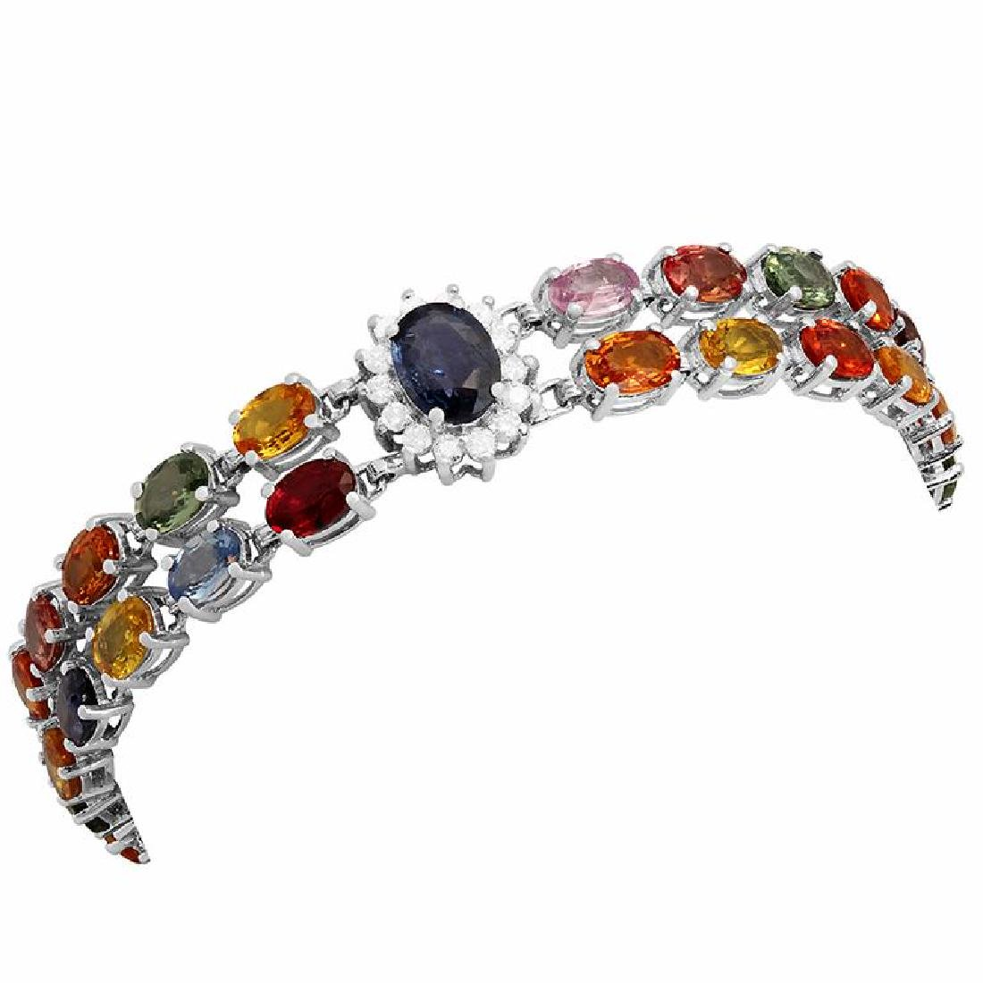 14k White Gold 27.65ct Sapphire 1.20ct Diamond Bracelet