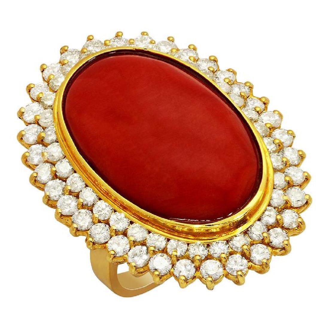 14k Yellow Gold 31.24ct Coral 2.14ct Diamond Ring