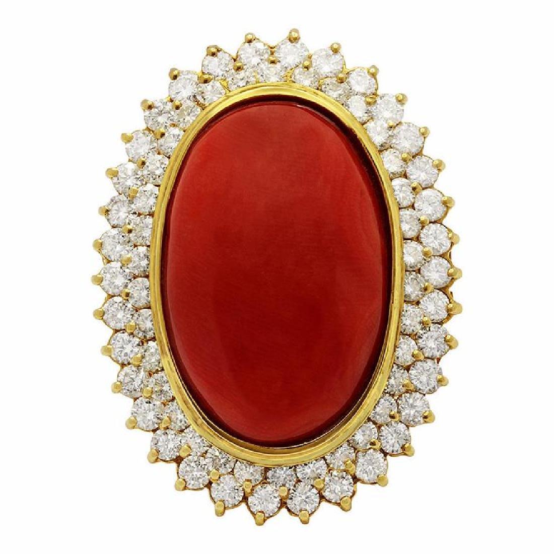 14k Yellow Gold 31.24ct Coral 2.14ct Diamond Ring - 3