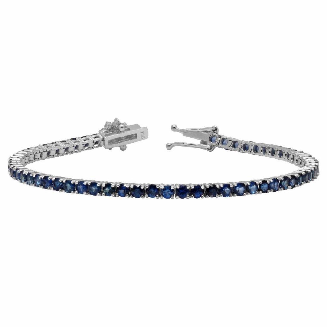 14k White Gold 5.12ct Sapphire 0.45ct Diamond Bracelet