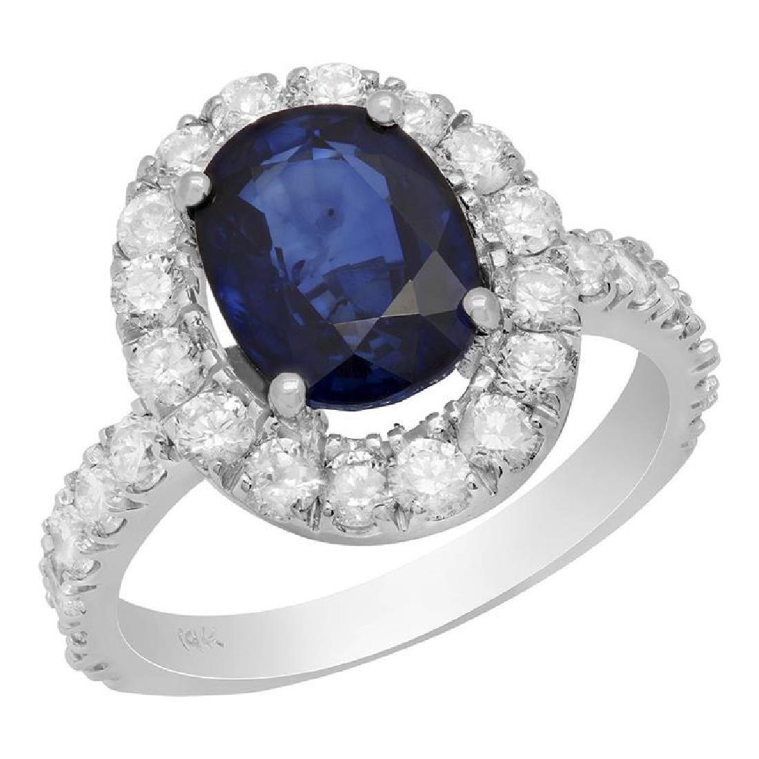 14k White Gold 3.31ct Sapphire 1.45ct Diamond Ring