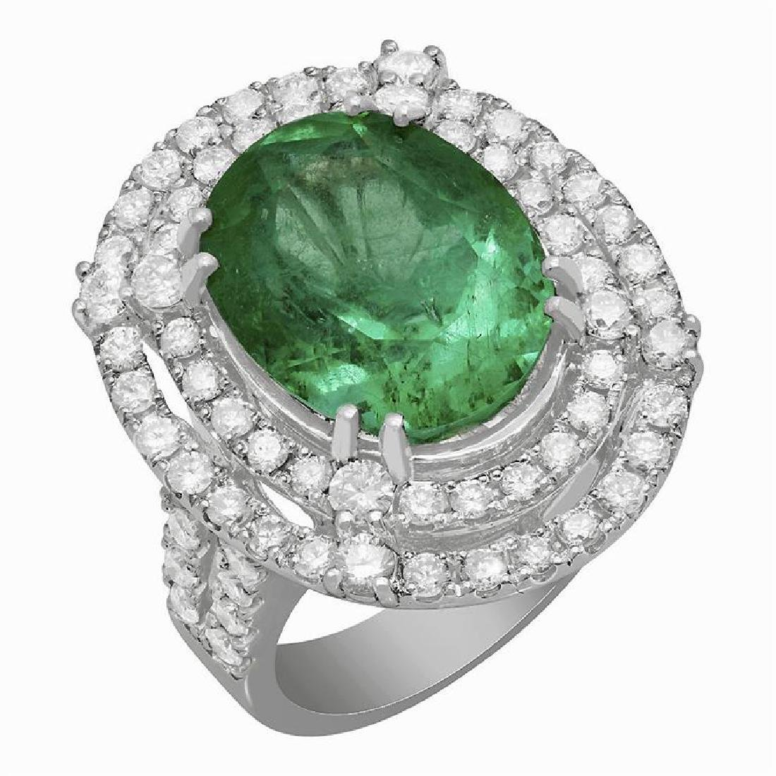 14k White Gold 9.01ct Emerald 2.40ct Diamond Ring