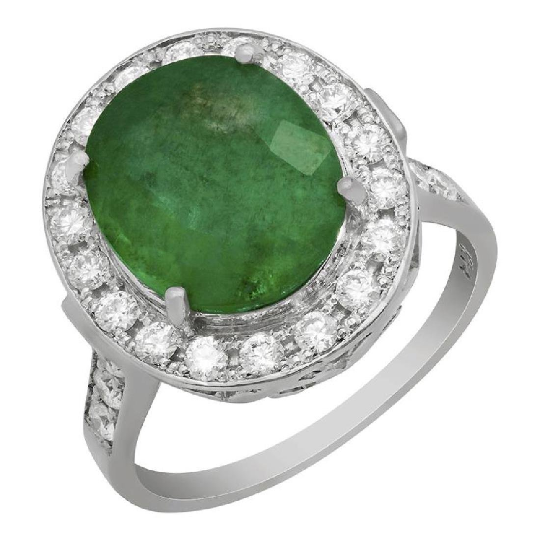 14k White Gold 3.48ct Emerald 0.71ct Diamond Ring