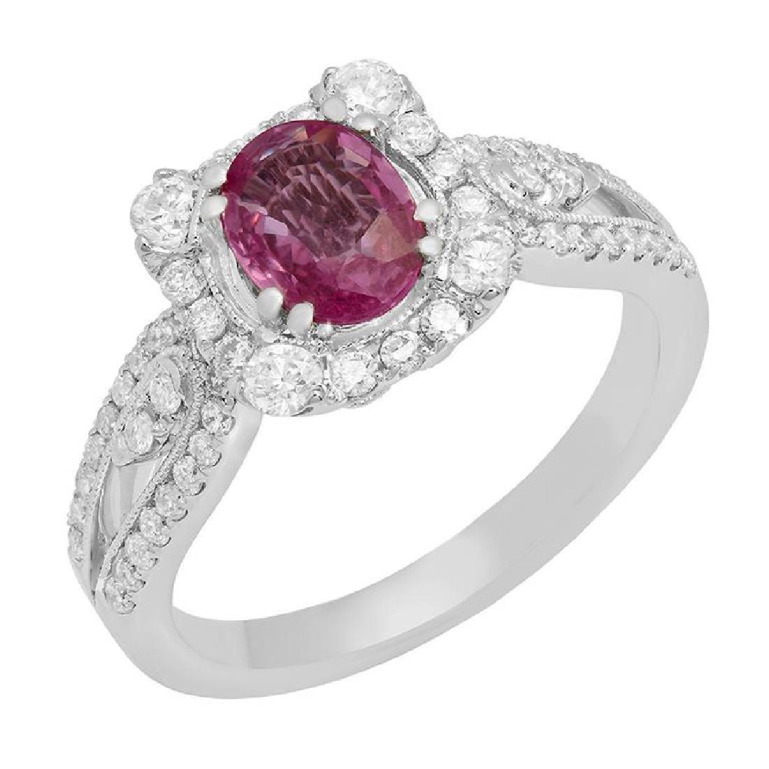 14k White Gold 1.00ct Pink Sapphire 0.68ct Diamond Ring