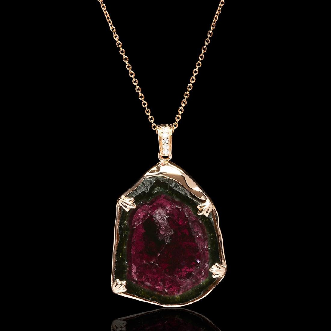 14k Rose Gold 38.42ct Watermelon Tourmaline 0.16ct