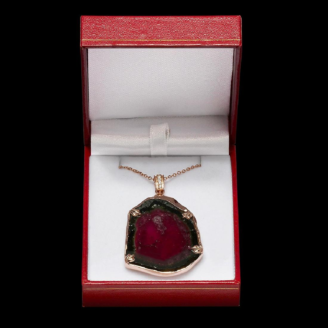 14k Rose Gold 38.42ct Watermelon Tourmaline 0.16ct - 4