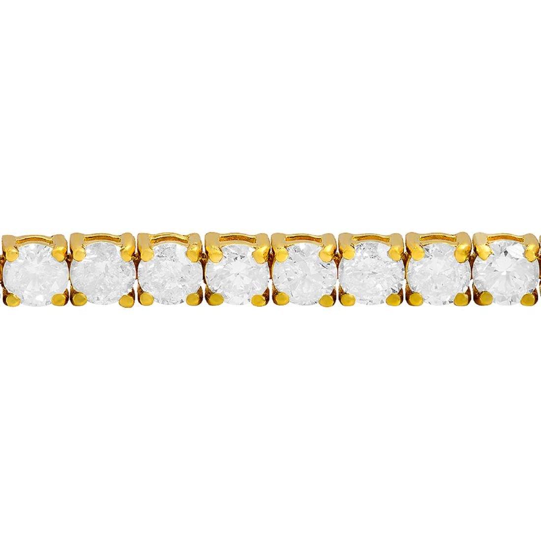 18k Yellow Gold 7.86ct Diamond Tennis Bracelet - 2