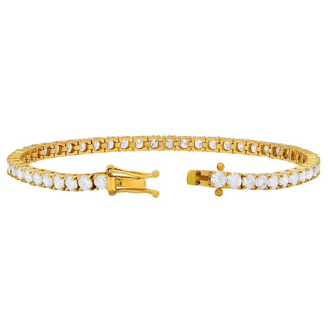 18k Yellow Gold 7.86ct Diamond Tennis Bracelet - 3