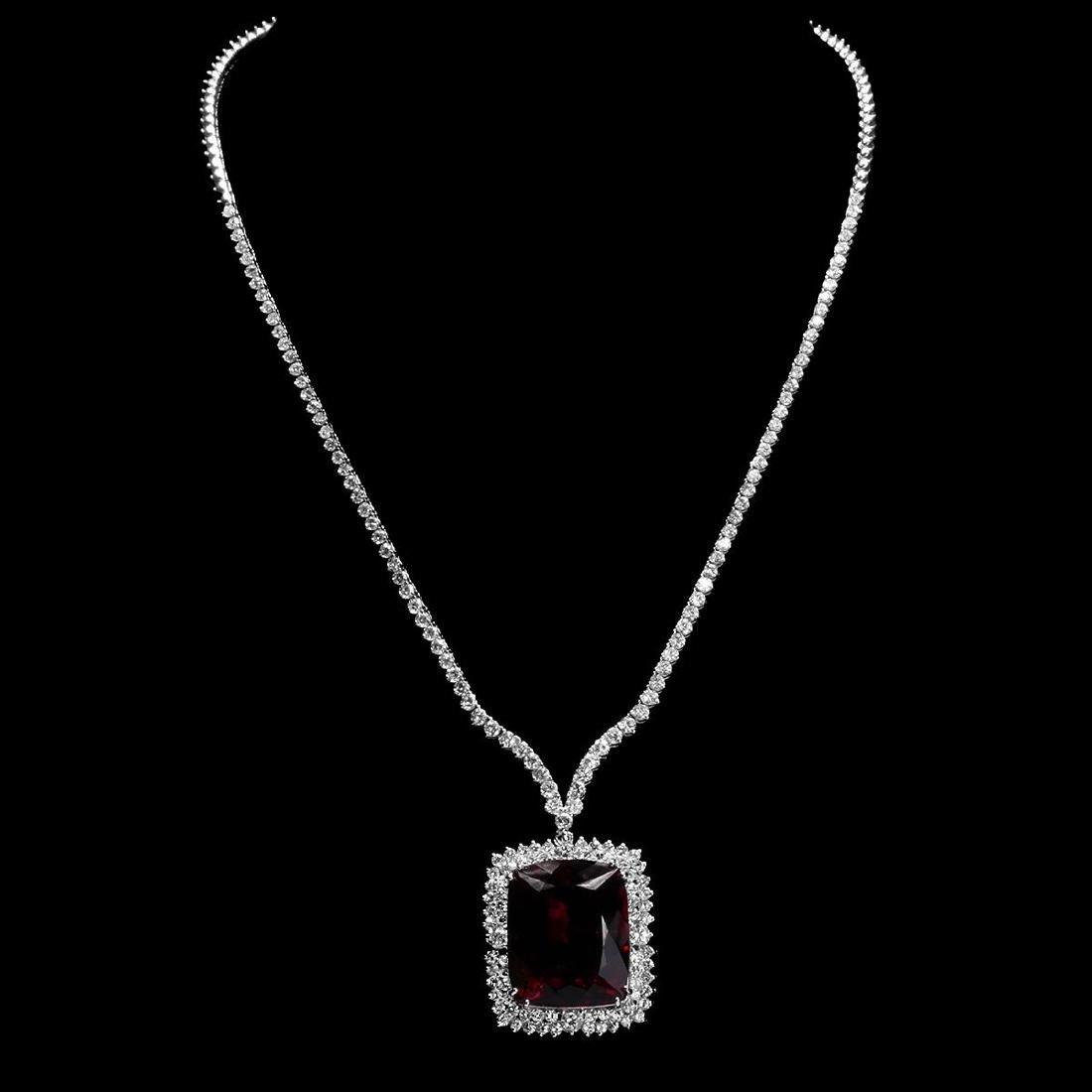 18k White Gold 33.36ct Tourmaline 7.35ct Diamond