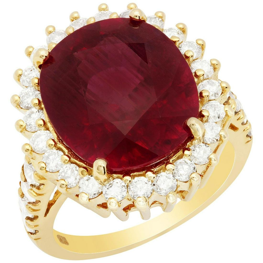 14k Yellow Gold 12.95ct Ruby 1.36ct Diamond Ring