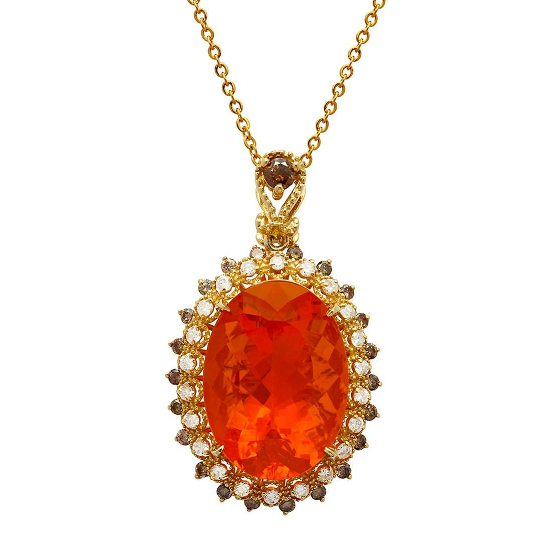 14k Yellow Gold 18.20ct Fire Opal 0.66ct & 0.94ct