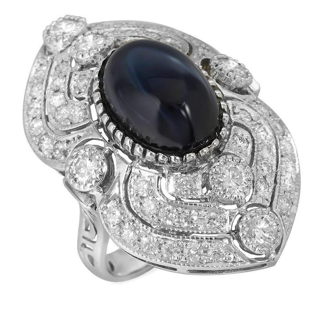 14K White Gold 13.34ct Sapphire and 2.50ct Diamond Ring